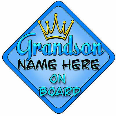 Personalised Baby On Board Car Sign Blue Grandson Brigh
