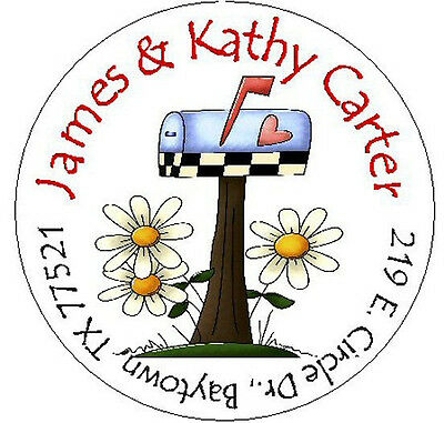 ~MAILBOX with FLOWERS~ Round Return Address Labels