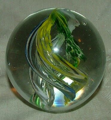 Vintage Large Paperweight 4 Center Color Swirls Yellow Blue White Green