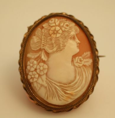Victorian hand carved shell floral maiden cameo brooch pin detail c clasp tube