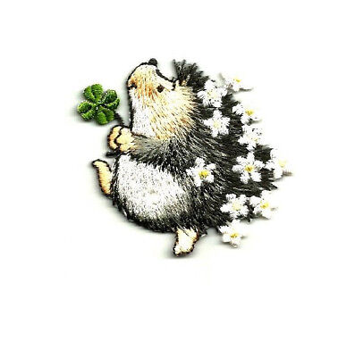 Hedgehog With Clover & Flowers Iron On Applique Patch