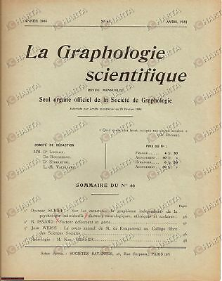 1931 PARIS La Graphologie Scientifique 46 SCHIFF ISNARD