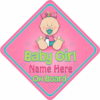 Personalised Baby On Board Car Sign New Baby Girl