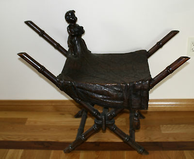 MAGNIFICENT 19c  ITALIAN WALNUT  HAND CARVED CHERUB    BENCH