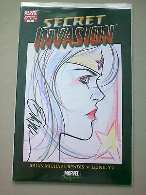 wonder woman original sketch remarked signed by bill tucci comic secret invasion
