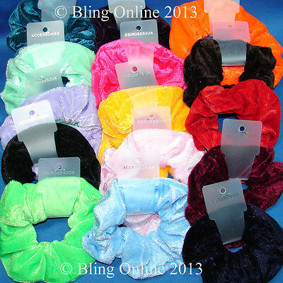 New Velvet Look Fabric Hair Band Scrunchie Pony Tail Elastic Girls Womens School