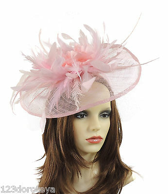 Pale Pink Fascinator Hat for weddings/ascot/proms With Black Headband V2