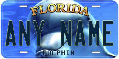 Dolphin Florida Aluminum Any Name Personalized Car Novelty License Plate
