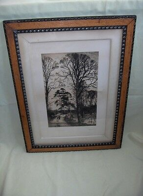 "Antique Picture Art Etching ""Charlcote"" Fred Slocombe Wood Frame"