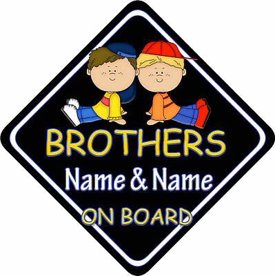 Brothers Car Sign Like Baby/Child On Board Black BG New