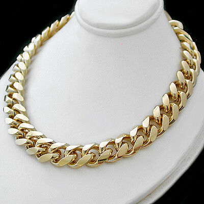 """11mm ROUNDED Curb Link Gold 121g GL 22"""" Solid MENS Necklace 