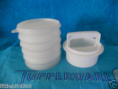 VINTAGE TUPPERWARE SMALL 1/4 LB. HAMBURGER PRESS & 5 CONTAINERS W/ SEAL FOR TOP