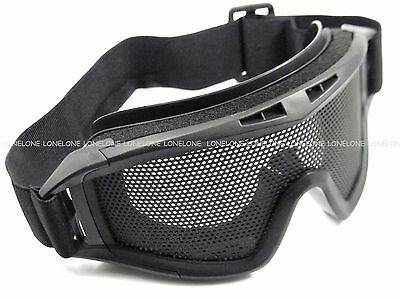 China Made Airsoft Cycling Paintball Wire Mesh Lens Protector Goggles Black #02