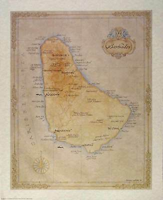 Antique style BARBADOS MAP