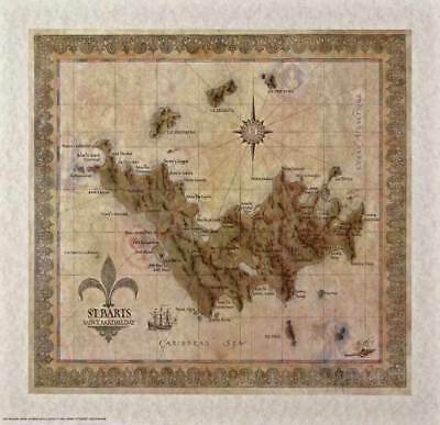 Antique Style  ST. BARTS MAP