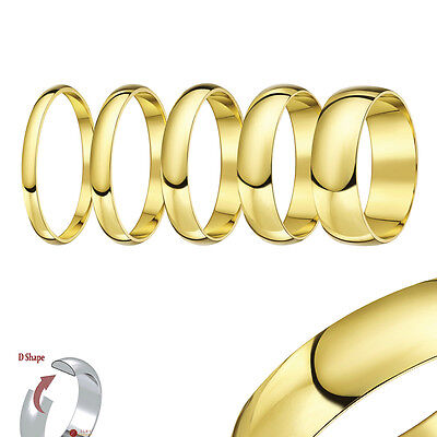 New 9ct Yellow Gold Light D Shaped Wedding Ring Band (Solid & Hallmarked)