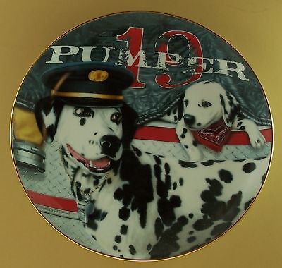 THE CAPTAIN Dalmatian Plate FIRE CAPERS Marty Roper Dog Puppy Fireman Fire Hall