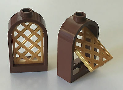 Qty x 4 Pcs LEGO 30044 Brown WINDOW FRAME 1 x 2 x 2.667 with Rounded Top
