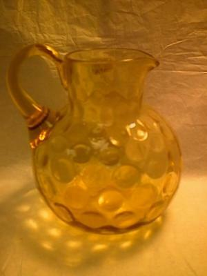 """INVERTED THUMBPRINT PITCHER 5"""" TALL - HOBBS? - AMBER COLORED"""