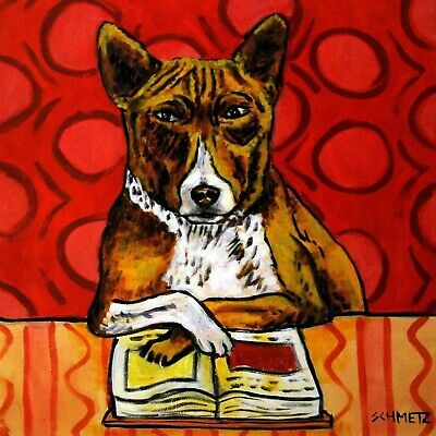 basenji READING a book animal dog art tile coaster gift