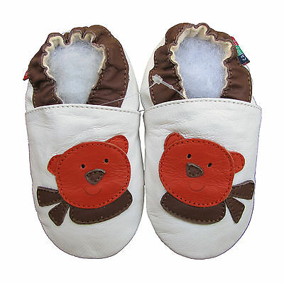 soft sole leather baby shoes teddy bear white 6-12m S