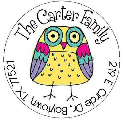 ~WHIMSICAL YELLOW OWL~ Round Return Address Labels