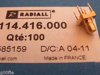 10x Radiall 50 ohm RF SMB Jack Receptacle R114416000 EE15