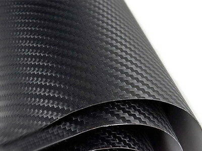 "3D Twill-Weave Dry Black Carbon Fiber Vinyl Wrapping Sheet Flim 24"" x 48"" #"