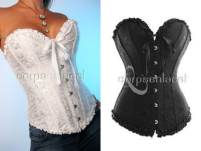 Corset Bustier Serre-Taille Top Mariage Blanc Noir Neuf