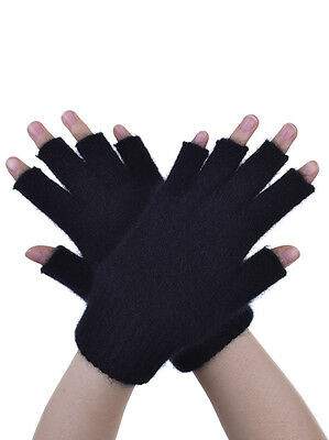 New Zealand Possum Fur Merino Wool Knitwear Open Fingerless Gloves