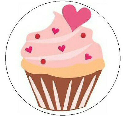 """PINK CUPCAKE w/HEARTS -  1"""" Sticker / Seal Labels!"""