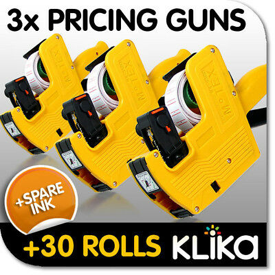 3x PRICING PRICE TAG TAGGING GUN LABELERS + 30 ROLLS