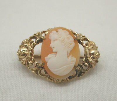 Vintage Ornate Rolled Gold Mounted Cameo Brooch