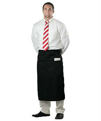 6 Waiter Server Bistro Waist Aprons Black Or White 2 Pocket Premium Quality