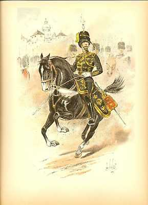 GB 14 Hussars Reg Officer Lithography Louis Vallet 1892