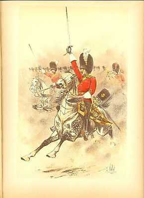 GB 2nd Dragoon Reg Officer Lithography Louis Vallet 1892