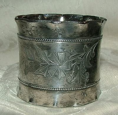 Aesthetic Victorian Fluted Silverplate Napkin Ring Engraved Florals Beaded