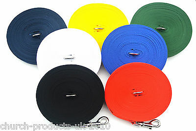 50ft 15m Long Dog Training Lead Obedience Leash Large Line 25mm Wide 7 Colours