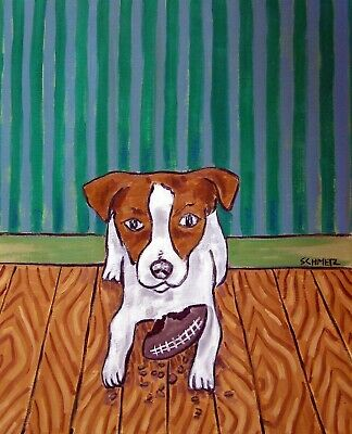 JACK RUSSELL terrier FOOTBALL TOY  picture 11x14 dog art PRINT abstract folk pop