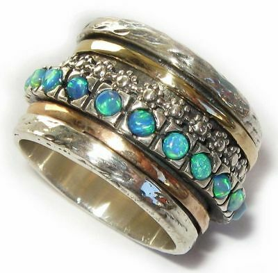 Gold 14k Silver Bridal Wedding Ring Turquoise Opal Sz 7