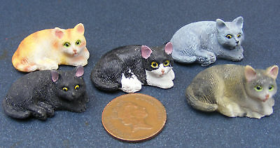 1:12 Scale Laying Resin Cat Dolls House Miniature Pet Animal Kitten Accessory FR