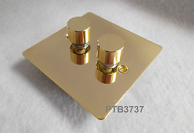 Flat Plate 2 Gang 2 Way Dimmer Switch In Brass