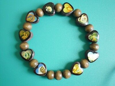 Wooden Wood Heart Bead Saints Rosary Bracelet + Book Communion Confirmation Gift