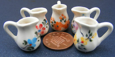 1:12 Scale Ceramic Floral Jugs Dolls House Miniature Kitchen Food Accessory Bk