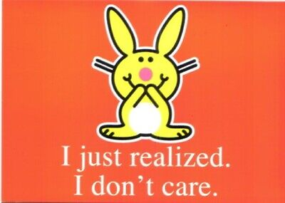 It's Happy Bunny I Don't Care Art Postcard MINT NEW