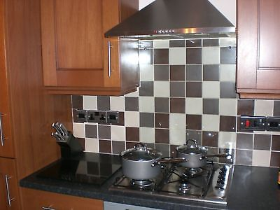 6mm CLEAR TOUGHENED GLASS SPLASHBACK.  11 SIZES . DIAMOND EDGED & U.K MADE