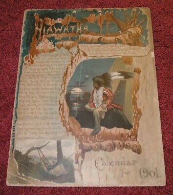 1901 Song of Hiawatha Indian Litho Multi-page Beautifully  Illustratied Calendar
