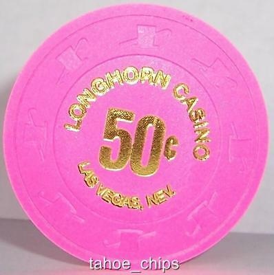 Longhorn Casino Chips Vegas Bright Pink 50 Cent Chip