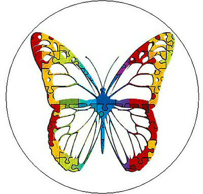 """PUZZLE BUTTERFLY Autism Awareness - 1"""" Round Stickers"""
