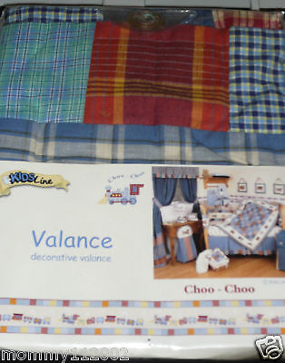 Kidsline Choo Choo VALANCE Train engine plaid denim blue red gold ivory NEW NIP
